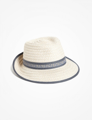 Contrasting trim elevates a classic fedora fashioned with UPF 50+ sun protection.