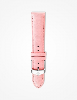 An interchangeable textured-leather watch strap adds a touch of glam to any MICHELE timepiece.